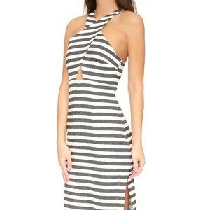 Mara Hoffman Black Striped Cross-Front Maxi Dress